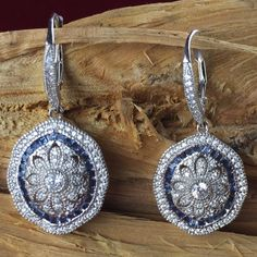 Victorian 925 Silver 1ctw Royal Blue and White Zircon Leaver back Dangle  Earrings EDE8914. Starting at $1