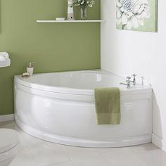 Milano Newby - White Modern Bathroom Reversible Corner Bath with Panel - x - Modern Bathroom, Small Bathroom, Bathrooms, Bathroom Showers, Wall Mounted Bath Taps, Corner Tub, Small Bathtub, Luxury Shower, Shower Units