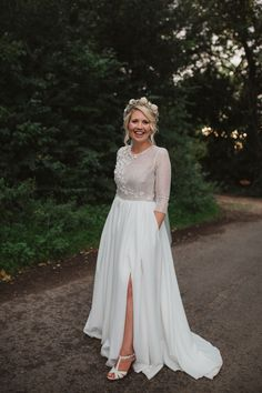 Milamira Dress Gown Bride Bridal Skirt Pockets Spilt Sleeves Gown Natural Country Garden Hand Crafted Wedding https://emilytylerphotography.com/ #wedding #dress #gown #bride #bridal #skirt #split #sleeves