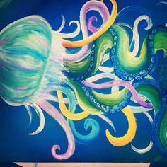 Jellyfish acrylic painting by loreleijoanna