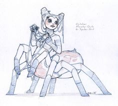 sketchesofsam: October monster girl challenge day 6: Spider Girl.
