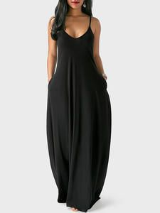 Black Spaghetti Strap Open Back Pocket Decorated Maxi Dress Open Back Pocket Decorated Black Maxi Dress Dress With Cardigan, Maxi Dress With Sleeves, Short Beach Dresses, Black Maxi Dresses, Long Dresses, Casual Summer Maxi Dresses, Dresses Dresses, Cheap Dresses, Black Maxi Dress Outfit Ideas