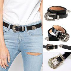 1217a494d7d Skinny Belt Black Leather Western Waist Blet Waistband for Women Single  Buckle