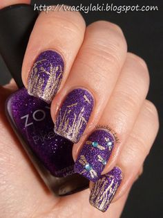 violet pixiedust (Zoya Carter) with gold stamping ... love the dragonflies with rhinestones!!