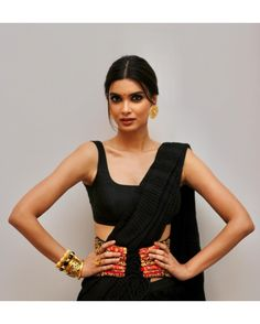 LADY IN BLACK 🔥 The stunning Diana Penty ( is a sight to behold in our pleated chiffon Pants Saree, from our latest Indian Attire, Indian Ethnic Wear, Indian Style, Indian Dresses, Indian Outfits, Saree Dress, Black Saree Blouse, Dhoti Saree, Lehenga Blouse