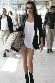 Goyard bag, Louboutin booties, Balmain blazer