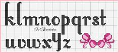 Bow alphabet k - z Cross Stitch Letters, Cross Stitch Charts, Cross Stitch Designs, Stitch Patterns, Cross Stitching, Cross Stitch Embroidery, Embroidery Alphabet, Crochet Letters, Lettering
