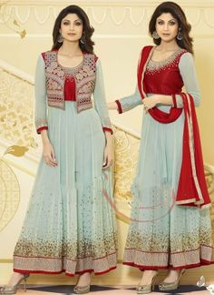Shilpa Sky Blue Georgette Embroidery Designer Stone Work Anarkali Suit #salwarsuit #Bollywood  http://www.angelnx.com/Bollywood