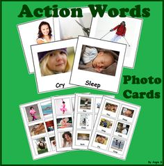Action Words and Verbs Flashcards for Autism, Special Educationb, Speech Therapy, ABA, OT, TEACCH, ESL, toddlers, kindergarten and preschool students. These printables can be used by teachers and therapists to teach a list of verbs through different activities, games and even worksheets. It also can be great for teaching the kids writing and reading the words.