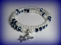 Star Football Charm Beaded Blue Swarovski Faux Crystal and Glass Pearls Clear crackle Double Wrap Memory Wire Bracelet #65