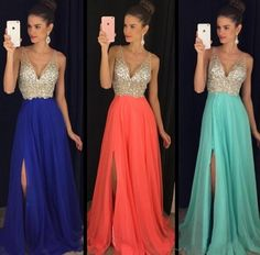 2016 Sparkly Crystals Long Prom Dresses Sexy Deep V Neck Blue Coral Mint Chiffon A Line Side Split Custom Made Pageant Party Gowns Cheap B Darlin Prom Dresses Backless Prom Dresses Uk From Nameilishawedding, $110.56| Dhgate.Com
