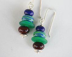 Swingers Bright Fun Artisan Lampwork sterling silver earrings.