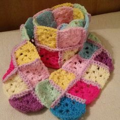 Hand crocheted Bright granny square scarf. Girls scarve by Twiddliebits on Etsy
