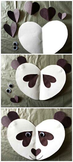 Panda Craft For Kids - Made out of paper hearts! | http://www.sassydealz.com/2014/02/panda-bear-craft-for-kids.html
