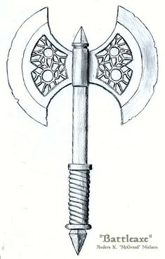 Battleaxe by mcgreed on DeviantArt Viking Battle, Viking Axe, Battle Axe, Axe Drawing, Sword Drawing, Machado Viking, Escudo Viking, Thor Hammer Tattoo, Nordic Tattoo