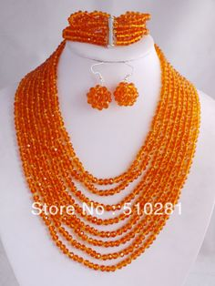 Fashion Bright Orange African Wedding Jewelry Set Facet Crystal Beads Necklace $32.16