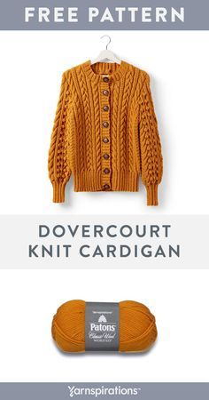 Bring on the cables and bobbles! This free cardigan knitting pattern features lo. Bring on the cables and bobbles! This free cardigan knitting pattern features lots of textured stitches that pair well w. Knitting Patterns Free, Knit Patterns, Free Knitting, Sewing Patterns, Knit Cardigan Pattern, Cable Cardigan, Patons Classic Wool, Ideias Diy, Knitwear