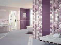 White or otherwise nondescript, boring tile would never, ever deliver the impact these purple-hued, patterned tiles do. | The Decorating Diva, LLC