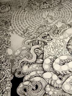 updated photo of my massive HP Lovecraft inspired illustration - Dagon.