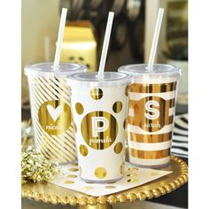 Bridesmaid Cups Bridal Party Tumblers Maid of Honor Cups Monogram Cup... ($17) via Polyvore featuring bridesmaids' gifts, gifts & mementos, grey and weddings