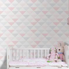 Papel de parede coleção geometria rosa, branco e cinza 030