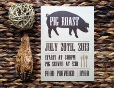 Vintage Rustic Pig Roast Invite by imaginationpad on Etsy, $35.00