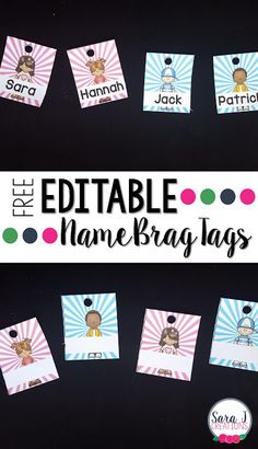 Such a cute way to start the year in your classroom with brag tags. This freebie includes editable brag tags in 4 different styles to be used as a nametag for the first tag on your students' necklaces
