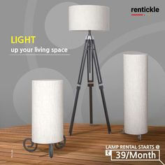 Modern floor lamps that add scale and drama to any room. Brighten up your living spaces with the best selection of lamps that tie in with the theme of your room. Book Now Thinking of Renting? Think of Rentickle! Living Room Decor, Living Spaces, Light Crafts, Modern Floor Lamps, Delhi Ncr, Renting, Tripod Lamp, Home Decor Furniture, Lighting Design