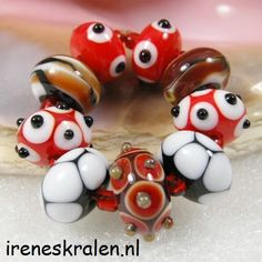 Lampwork Glass Beads Set Red Black White homemade by IrenesBeads, €22.50