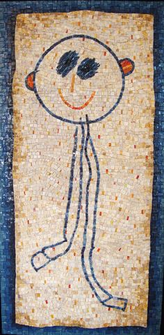 """""""stick man,"""" from a series of mosaics based on original artwork from the Permanent Collection of the Children's Museum of New York City."""