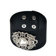 On sale | $7.99 | Vintage-Inspired Black Leather Snap Enclosure Bracelet  #snatchndash @Snatch 'N Dash #shopsmall
