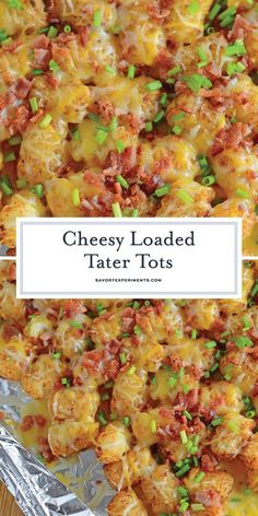 Cheesy Loaded Tater Tots are an easy side dish recipe or appetizer. Loaded tater… Cheesy Loaded Tater Tots are an easy side dish recipe or appetizer. Loaded tater tots are the best since they are loaded with cheese and bacon! Tater Tot Recipes, Casserole Recipes, Tator Tot Casserole Recipe, Tater Tot Breakfast Casserole, Potato Recipes, Tater Tot Bake, Chicken Recipes, Side Dishes Easy, Side Dish Recipes