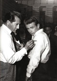 James Dean getting prepared for the knife scene in Rebel.