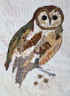 This owl is done by Mandy Pattullo. Love her textile art! It's featured on My Paisley World http://mypaisleyworld.blogspot.com/