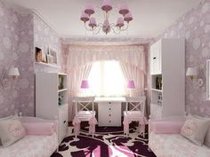 Визуализация детской для двух девочек. - Дизайн интерьера - Babyblog.ru Girl Bedroom Designs, Girls Bedroom, Teen Room Decor, Bedroom Decor, Room Interior, Interior Design Living Room, Little Girl Rooms, Cool Rooms, Decoration
