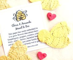 100 Plantable Seed Paper Bees Wedding Favors - Plantable Honey Jar Tags - Meant to Bee Favors by recycledideas on Etsy https://www.etsy.com/listing/190237677/100-plantable-seed-paper-bees-wedding