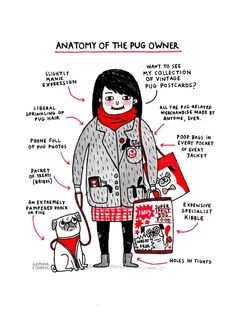 Anatomy of the Pug Owner Art Print by Gemma Correll | Society6