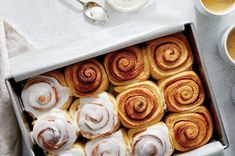 These soft, spiraled rolls are stuffed with aromatic cinnamon filling and iced with rich, vanilla-scented frosting. Bun Recipe, Rolls Recipe, Round Cake Pans, Round Cakes, Potato Flour, Icing Ingredients, King Arthur Flour, Thing 1, Instant Yeast
