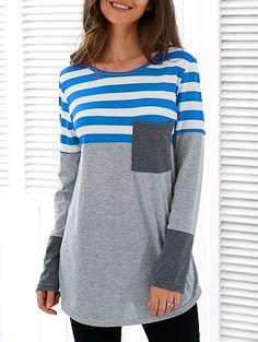 Spliced Asymmetric Striped T-Shirt in Blue | Sammydress.com