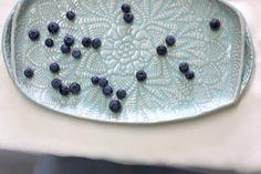 Handmade Pottery Tray Seafoam Green Lace by FringeandFettle