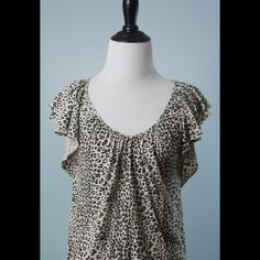 REBECCA TAYLOR Animal Print Flutter Sleeve Top XS REBECCA TAYLOR Brown Ivory Black Animal Print Flutter Sleeve Cotton Top Size XS Rebecca Taylor Tops Blouses