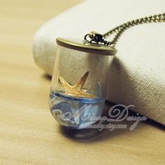 Unique Glass Bottle Necklace Real Tiny Starfish by minnadiy, $12.90