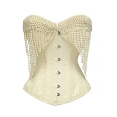 JP-014 Cream Striped Corset with Pearl Effect Embellishment ($63) ❤ liked on Polyvore featuring corsets, tops, burlesque and lingerie