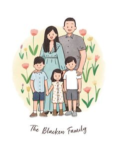 Family Drawing, Digital Portrait, Doodle Art, Family Portraits, Gifts For Mom, Anniversary, Comics, Drawings, Illustration