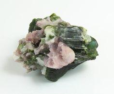 Green Tourmaline and Lepidolite Specimen, M-1383  Weight: 34.76 grams Measures: 40mm x 30mm x 20mm Origin: Brazil  Green Tourmaline Keywords: Joy