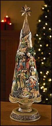 "Christmas Nativity Scene Carved on a Tall Christmas Tree Mounted on a Pedestal Wood Resin 20.5"" Tall Gifts by Lulee/Xmas http://www.amazon.com/dp/8742245532/ref=cm_sw_r_pi_dp_0paJub1T6PE08"