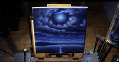 Full Moon Sky - Acrylic Painting Lesson - $14.99 #onselz