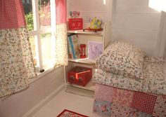 The pen pots and book shelf (a spice rack) are from Ikea and are a great Playhouse Decor, Playhouse Interior, Girls Playhouse, Playhouse Outdoor, Wooden Playhouse, Wendy House, Cubby Houses, Playhouses, Wooden Kitchen