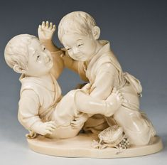 A charming Tokyo School ivory okimono carved naturalistically as two frolicking youngsters, their marvelously-woven fruit basket upended Vintage Japanese, Japanese Art, Tokyo School, Chinese Babies, Sculptures, Lion Sculpture, Oriental Decor, Asian History, Stone Carving