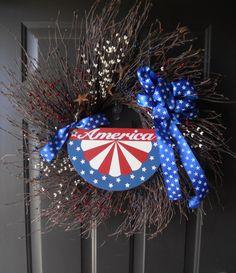 Patriotic Wreath 4th of July Decor Memorial by PebbleCreekDesigns